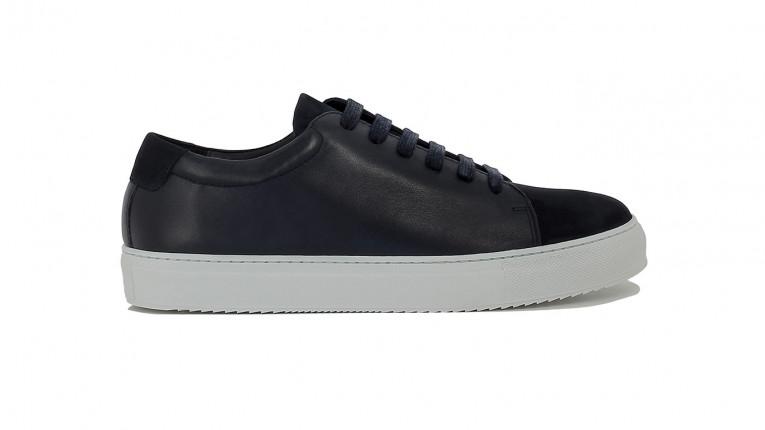 men sneakers navy blue calf and nubuck