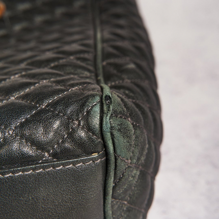 At The Cobbler, we take pride in restoring bags and give them a second life, like this #Dolce&Gabanna Bag.  When a bag is used frequently, the colour fades, the edges get damaged, and the metal parts lose their colour and brightness.   1. We have gently cleaned the leather and restored the colour to bring back its orginial brightness 2. The piping and edging have been restored 3. The metal parts have been revamped  #craftmanship #bag #dolce&gabanna #restoration #goldplating #edging #piping #repair #heritage #dubai #thecobbler #uae #abudhabi #traditional